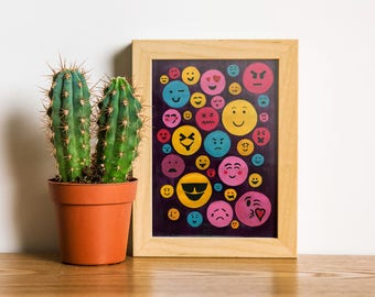 Giclée Print | Babel Collection: Evolution  – Giclée Print (of original acrylic painting), language, abstract wall art, smiley faces, emojis