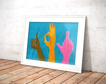 Babel Collection: Universal Lingo – original acrylic painting, languages, sign language, hands, wall art, turquoise, all races, gestures, ok