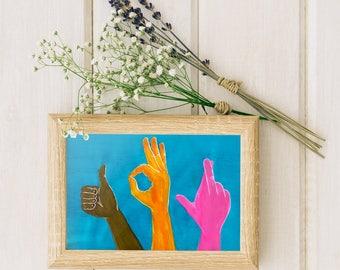 Giclée Print | Babel Collection: Universal Lingo – Giclée Print (of original acrylic painting), languages, sign language, hands, wall art