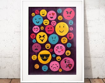Babel Collection: Evolution – original acrylic painting, language, abstract painting, abstract wall art, smiley faces, emojis,