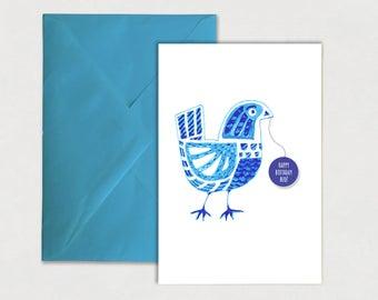Happy Birthday Bud – Birthday Greeting Card, Bird, best wishes, card, folk art, illustration