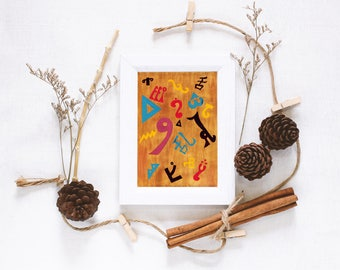 Giclée Print | Babel Collection: Fallen Confusion – Giclée Print (of original acrylic painting), languages, wall art, hieroglyphics, symbols