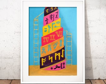 Babel Collection: Tower of Babel – original acrylic painting, languages, abstract painting, wall art, turquoise painting, hieroglyphics, art
