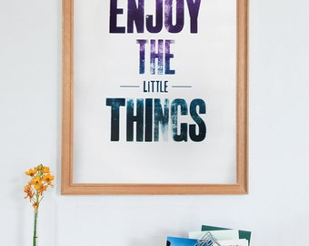 Letterpress Wall Art, 'Enjoy the Little Things', Print, Typography, Large Wood Letters, Great Studio Wall Poster, Handmade, Unique, Positive