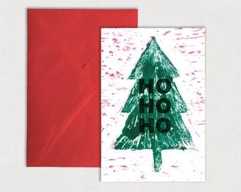 Ho Ho Ho Christmas Card – Christmas tree, linocut print, red, green and white, greeting card, thanksgiving, Santa, quote