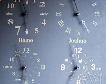 Horloges murales pour la vente - plusieurs fuseau horaire mural - quatre fuseau  horaire horloge - moderne - cadeau décoratif horloge - horloge murale Art 2f40f2802290