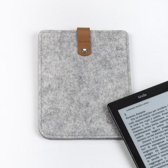 Kindle Paperwhite Case - Felt and Leather Kindle Case - Kindle Paperwhite  Sleeve - Ebook Reader Case - Grey Felt Sleeve Kindle Cover