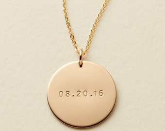 7e45e083f 3/4 inch 14kt Gold Filled Date Necklace / Silver, Gold, or Rose / Personalized  Disc Necklace