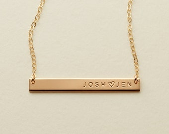 c09fc19dad3 Skinny Bar Necklace / Gold, Silver, or Rose Gold / Personalized Skinny Bar  / Name Necklace