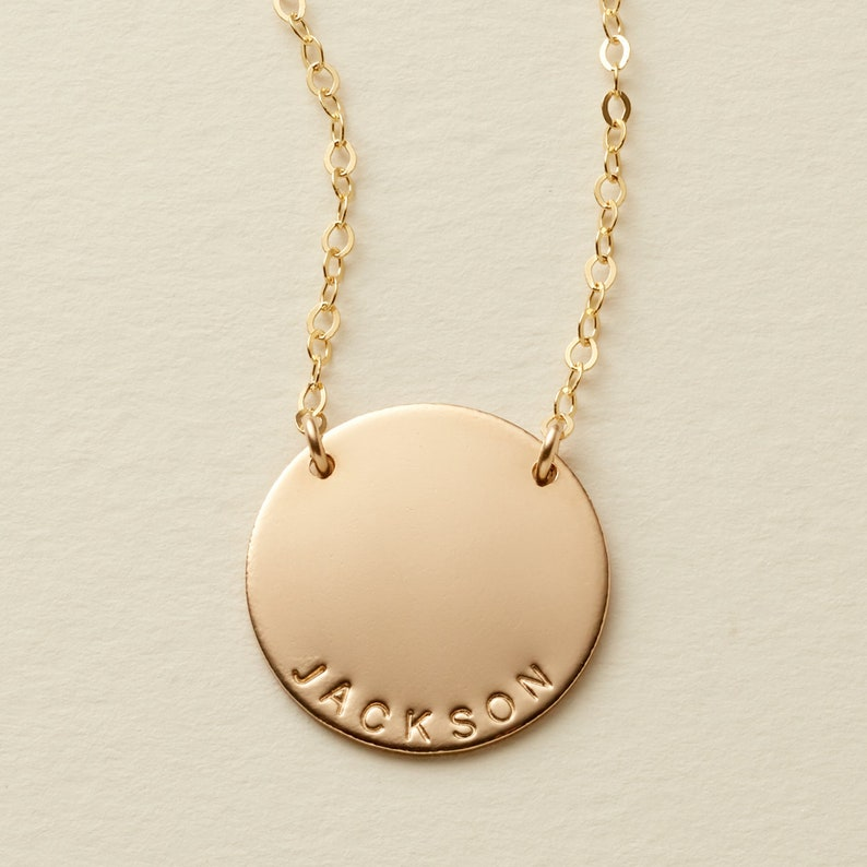 The Zola Disc Necklace / Personalized 3/4 Disc Necklace image 0