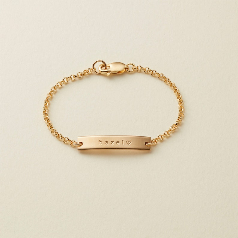 bbe275838 Personalized Baby Bracelet / Gold Rose Gold or Silver Bar | Etsy