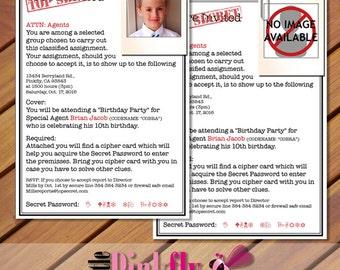 Top secret invites etsy top secret birthday invitation and cipher card army classified invitation spy invitation filmwisefo