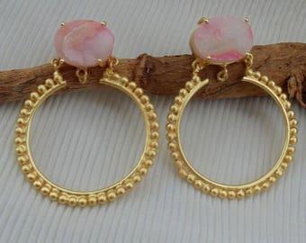 Rough Jewelry Earring E1204 Rough Stone Designer Earring 18K Gold Plated Earring Stylish Earring