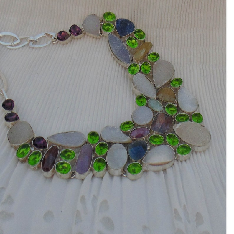 Multi Sapphire Necklace Sterling Silver Necklace White Drusy Green Quartz Amethyst Necklace Toggle T Bar Handmade Chunky Necklace