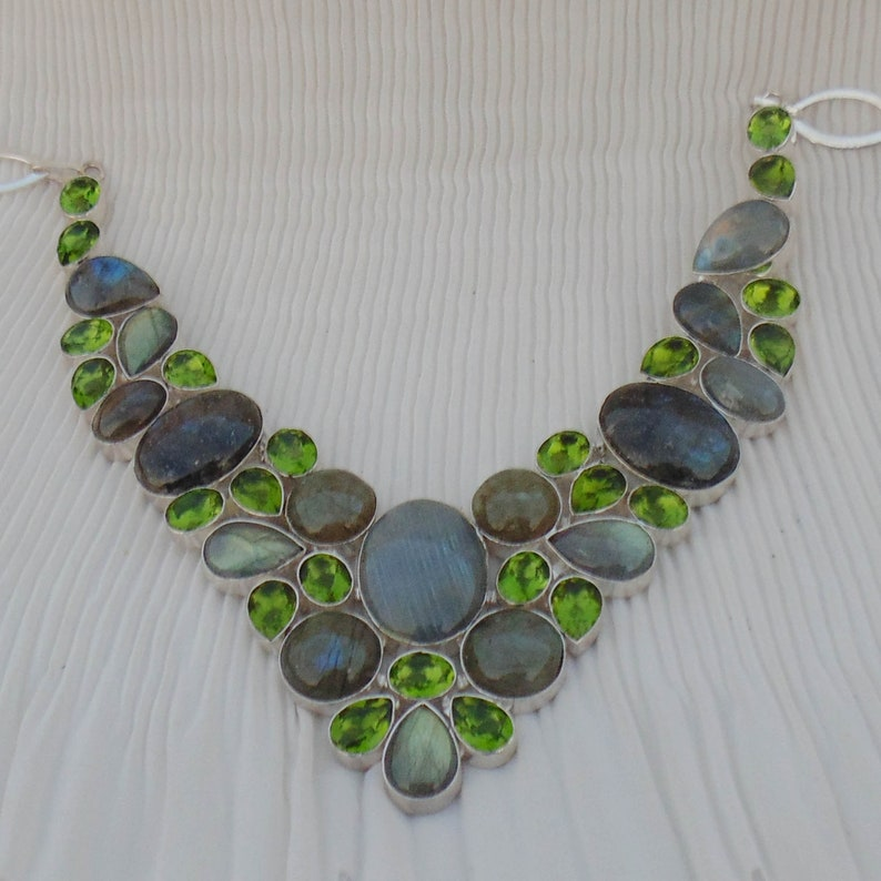 Necklaces For Mom Natural Gemstone Silver Necklace Peridot Quartz Handmade Gift Jewelry Necklaces For Women Labradorite Necklace