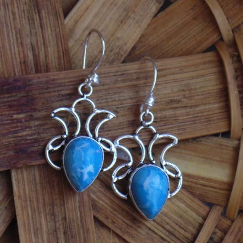 Pretty Handmade Jewelry Blue Chalcedony Sterling Silver Overlay 10 Grams Earring 2