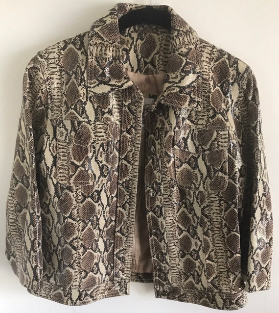 Snakeskin printed leather jacket
