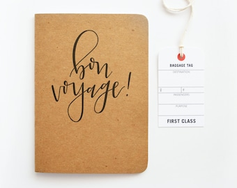 Kraft Travel Journal, Bon Voyage Calligraphy Travel Notebook | Hand Lettered Traveler's Journal