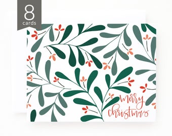 Christmas Card Set of 8 | Illustrated Floral Christmas Cards with Hand Lettered Calligraphy : Merry Foliage Christmas Card