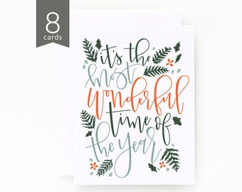 Christmas Card Set of 8 | Illustrated Holiday Card Set with Hand Lettered Calligraphy: Most Wonderful Time Christmas Cards