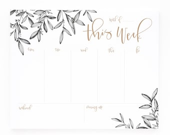 Weekly Planner Notepad | Illustrated Weekly Desk Notepad To Do List with Hand Lettered Calligraphy : Woodland Floral Weekly Planner Pad