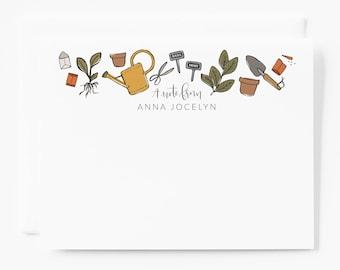 Personalized Stationery Flat Card Set   Custom Personalized Stationery Set of 12 Notecards with Garden Illustration : The Gardener's Notes