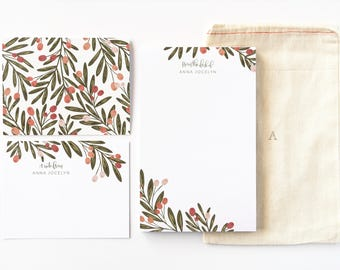 Personalized Stationery Set | Illustrated Floral Stationery Gift Set with Custom Notepad, Flat Cards, and Notecards : Berry Grove Stationery
