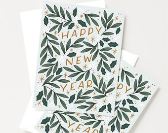 happy new year card set of 8 hand illustrated and lettered holiday new years cards