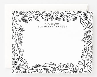 Personalized Flat Card Set of 12 | Illustrated Botanical Custom Flat Notes with Hand Lettered Calligraphy : Personalized Stationery Cards