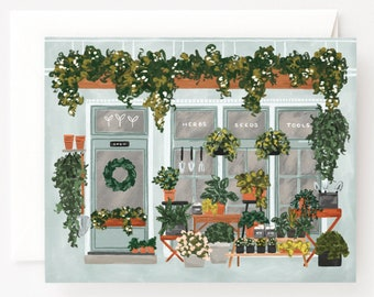 Plant Shop Greeting Card : Illustrated Garden Market Blank Greeting Cards, All Occasions