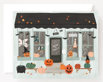 Halloween Card Set of 8 | Illustrated Costume Shop Halloween Cards, Folded Blank Holiday Cards Pack