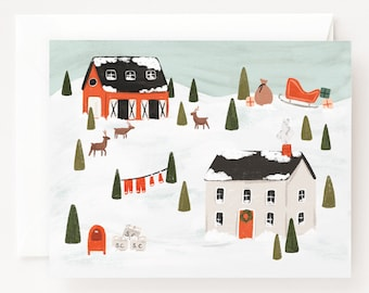 Santa's House Card Set of 8 | Illustrated Santa Claus North Pole Christmas Cards, Folded Blank Holiday Cards Pack