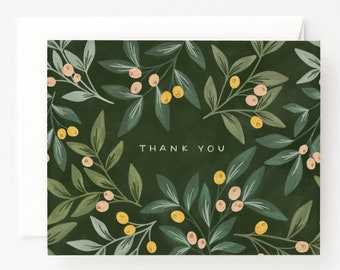 Set of 8 Thank You Cards : Orchard Thank You Card Set with Illustrated Florals