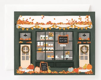 Thanksgiving Card Set of 8 | Illustrated Autumn Coffee Shop Thanksgiving Cards, Folded Blank Holiday Cards Pack