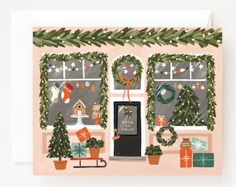 Christmas Market Card Set of 8 | Illustrated Holiday Decor Shop, Folded Blank Holiday Cards Pack