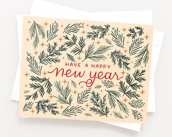 happy new year card set of 8 hand illustrated and lettered holiday new years cards with winter pine and stars
