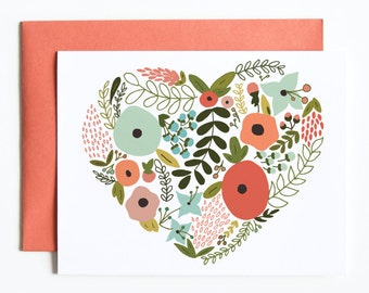 Single Card | Floral Heart Card, Hand Illustrated Love Greeting Card