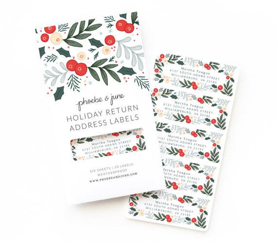 merry bright holiday personalized return address labels set etsy
