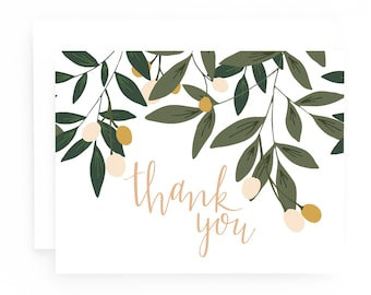 Thank You Cards Set of 8, Illustrated Floral Thank You Card Set: Orchard Thank You Cards