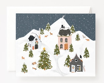 First Snow Holiday Card Set of 8 | Illustrated Village Boxed Christmas Cards Set, Folded Blank Christmas Cards