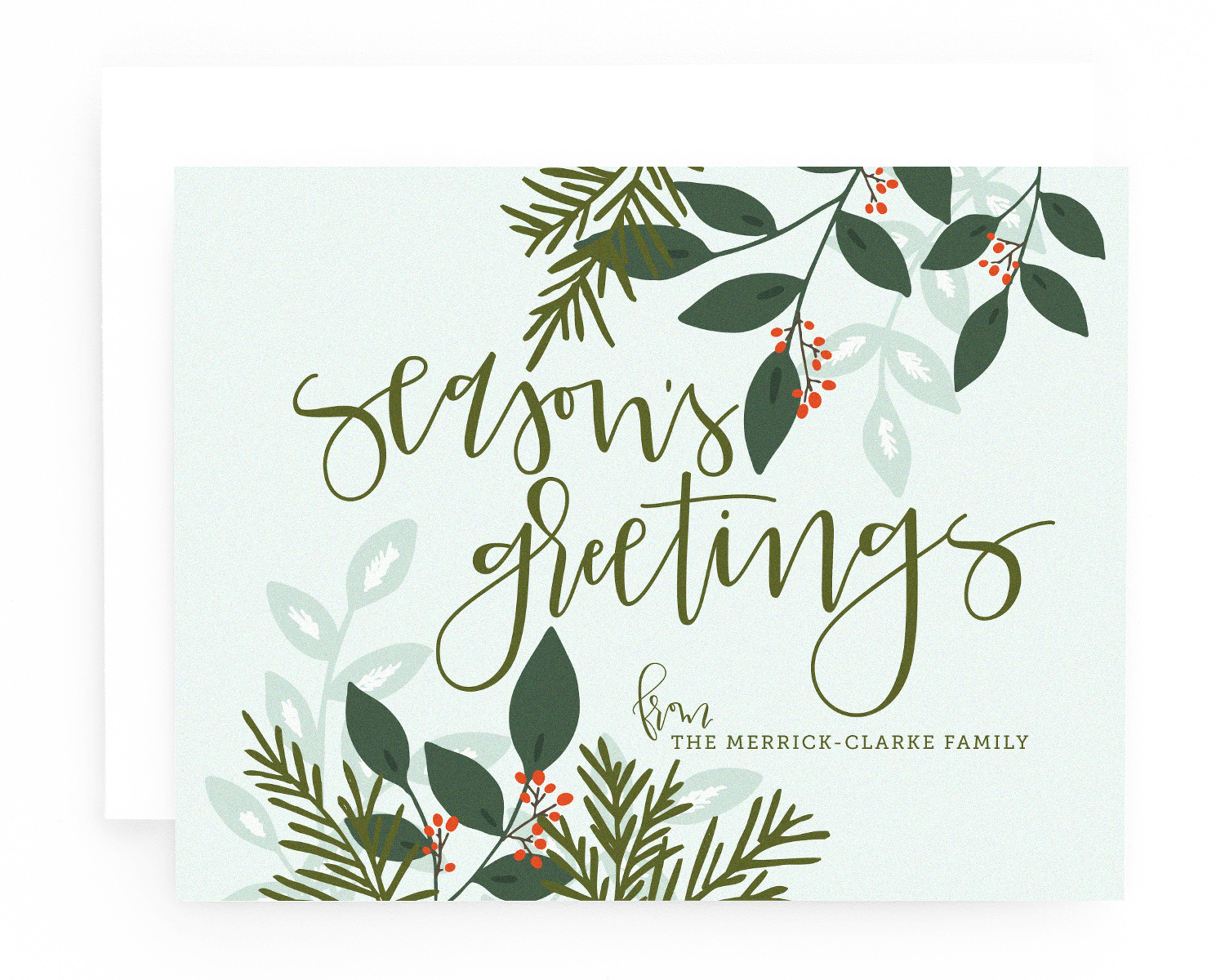 Personalized Christmas Card Set Of 8 Hand Lettered Etsy