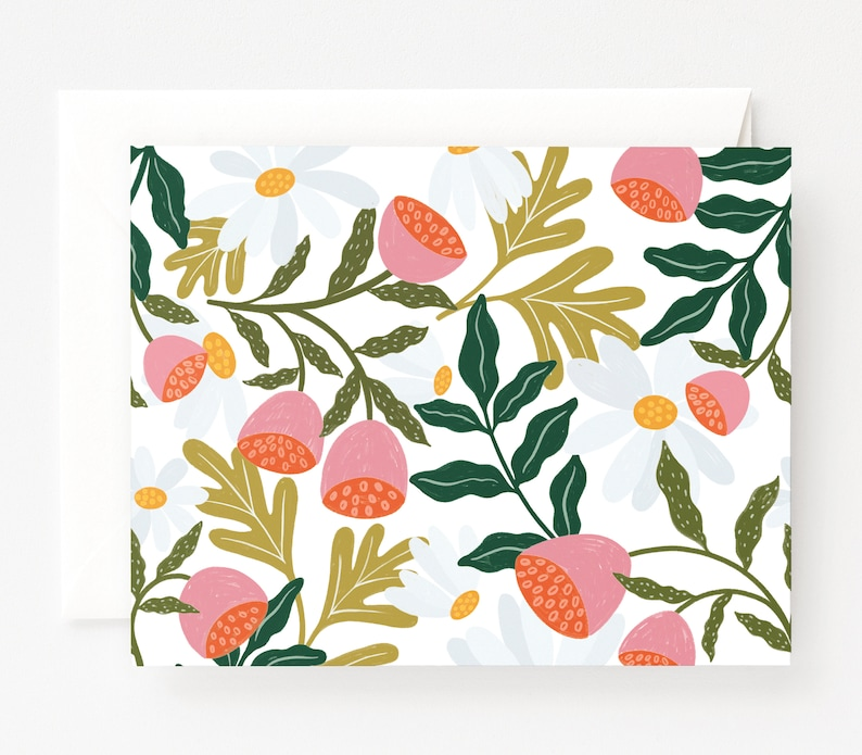 Folded Everyday Cards with Blank Interiors and Hand Illustrated Blooms Flora Notecard Set of 8