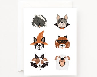 Dogoween Halloween Cards Set of 8 | Illustrated Pup Halloween Costume Greeting Card Set