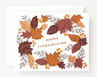 Happy Thanksgiving Card Set of 8 | Illustrated Autumn Holiday Happy Thanksgiving Cards, Folded Blank Holiday Cards