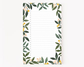 Orchard List Pad | Illustrated Botanical To Do Notepad with Dotted To Do List, Orchard Desk Notepad