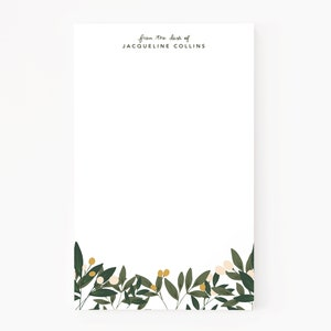 Prairie Stationery Custom Notepad Personalized Notepad with Hand Painted Florals