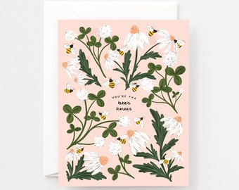 You're the Bee's Knees Greeting Card : Clover and Bee Blank Greeting Cards, Thank You and Love Card