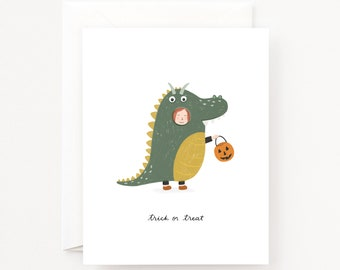 Trick or Treat Halloween Cards Set of 8 | Illustrated Trick or Treater Halloween Costume Greeting Card Set