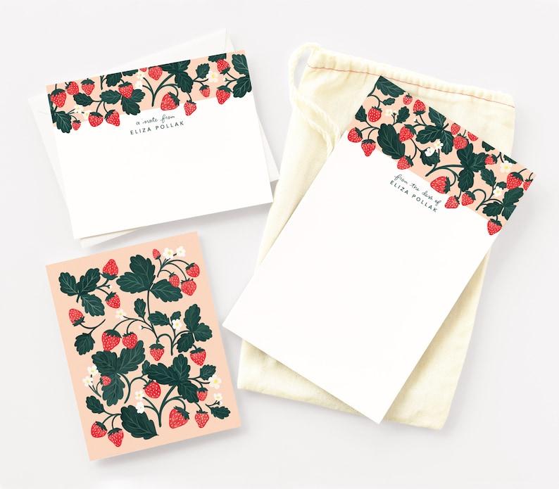 Strawberry Personalized Stationery Set Custom Stationery image 0