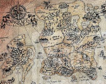 "24"" x 36"" Vintage EverQuest Norrath World Map Print"